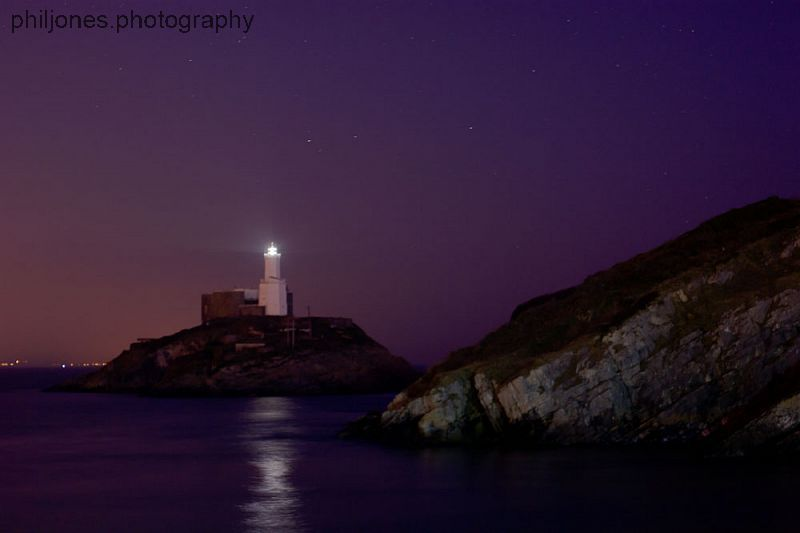 Mumbles Lighthouse at Night